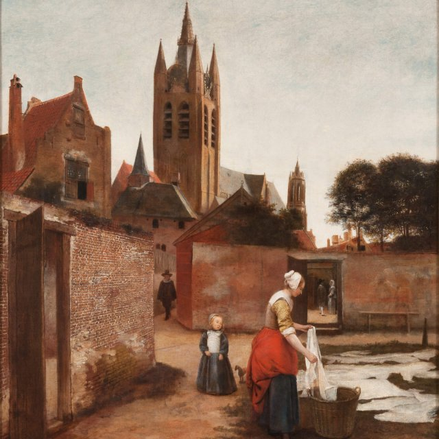 Pieter de Hooch (1629 - in or after 1679), A Woman and Child in a Bleaching Ground, ca. 1657-1659, Rothschild Collection (Waddesdon), Photo Mike Fear